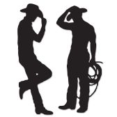 12 Units of Cowboy Silhouettes prtd 2 sides