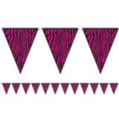 12 Units of Zebra Print Pennant Banner all-weather; 12 pennants/string - Party Banners