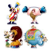 12 Units of Circus Cutouts prtd 2 sides - Hanging Decorations & Cut Out