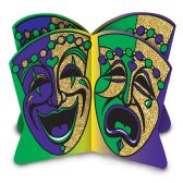 12 Units of 3-D Glittered Mardi Gras Centerpiece assembly required - Party Center Pieces