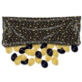 12 Units of Plastic Balloon Bag w/50 No 9 Balloons black & gold; no retail packaging
