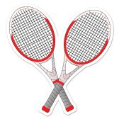 12 Units of Tennis Racquets Cutout prtd 2 sides - Hanging Decorations & Cut Out