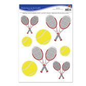 12 Units of Tennis Balls & Racquets Peel 'N Place - Hanging Decorations & Cut Out