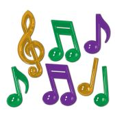 12 Units of Plastic Musical Notes asstd gold, green, purple