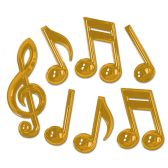 12 Units of Gold Plastic Musical Notes