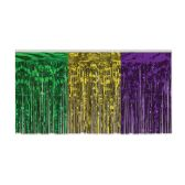 6 Units of Pkgd 1-Ply FR Metallic Table Skirting gold, green, purple