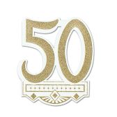 12 Units of 50th Anniversary Crest gltrd 1 side - Hanging Decorations & Cut Out
