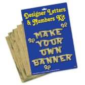 6 Units of Designer Letters & Numbers Kit gold; 67-letters/numbers/bows, 30-brass fasteners & blank foil sheet - Hanging Decorations & Cut Out
