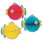 12 Units of Tissue Bubble Fish asstd colors - Hanging Decorations & Cut Out