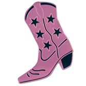 24 Units of Foil Cowboy Boot Silhouette pink; foil/prtd 2 sides - Hanging Decorations & Cut Out