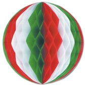 12 Units of Tissue Ball red, white, green - Hanging Decorations & Cut Out