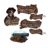12 Units of Pirate Cutouts prtd 2 sides (2 w/same & 2 w/different designs) - Hanging Decorations & Cut Out