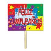 6 Units of Feliz Cumpleanos Yard Sign 1-sided plastic; attached to 24  pine stake - Hanging Decorations & Cut Out