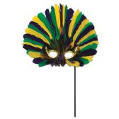 12 Units of Feathered Mask w/Stick golden-yellow, green, purple; sticks attached