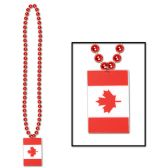 12 Units of Beads w/Printed Canadian Flag Medallion prtd 2 sides