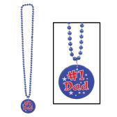 12 Units of Beads w/Printed #1 Dad Medallion - Party Necklaces & Bracelets