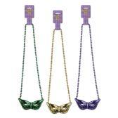 12 Units of Beads w/Mask Medallion asstd gold, green, purple