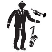 12 Units of Jointed Jazz Musician sax & trumpet cutouts included - Bulk Toys & Party Favors