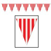 12 Units of Striped Pennant Banner all-weather; 12 pennants/string - Party Banners
