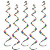 6 Units of Printed Stripes Twirly Whirlys - Streamers & Confetti