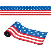 6 Units of Satin Patriotic Table Runner stars & stripes design; cut to length - Hanging Decorations & Cut Out