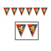 12 Units of Medieval Pennant Banner all-weather; 12 pennants/string - Party Banners