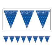 12 Units of Bandana Pennant Banner blue; all-weather; 12 pennants/string - Party Banners