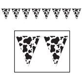 12 Units of Cow Print Pennant Banner all-weather; 12 pennants/string - Party Banners