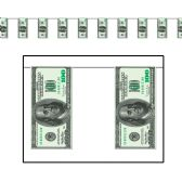 12 Units of $100 Bill Pennant Banner all-weather; 12 pennants/string - Party Banners