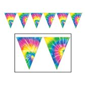 12 Units of Tie-Dyed Pennant Banner all-weather; 12 pennants/string - Party Banners