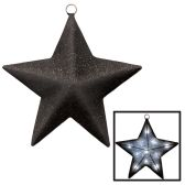 Light-Up Sparkle Star black & silver  requires 3 AA batteries not included; 2 light modes–steady on & flashing - Party Novelties