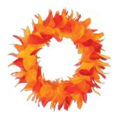 6 Units of Feather Wreath golden-yellow, orange, red - Party Novelties