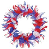 6 Units of Feather Wreath red, white, blue - Party Novelties