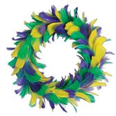 6 Units of Feather Wreath golden-yellow, green, purple - Party Novelties