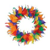 6 Units of Feather Wreath rainbow - Party Novelties