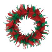 6 Units of Feather Wreath red & green - Party Novelties