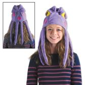 6 Units of Plush Octopus Hat one size fits most