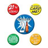 12 Units of 21st Birthday Party Buttons asstd designs