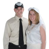 12 Units of White Cap w/Veil adjustable - Party Hats & Tiara