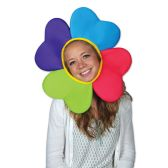 6 Units of Plush Flower Hat one size fits most; elastic attached