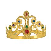 12 Units of Plastic Jeweled Queen's Tiara gold; molded plastic; adjustable - Party Hats & Tiara