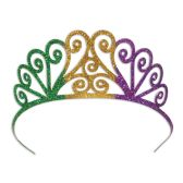 6 Units of Glittered Metal Mardi Gras Tiara 2 attachable combs included - Party Hats & Tiara