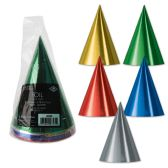 12 Units of Pkgd Foil Cone Hats asstd colors; medium head size; elastic attached - Party Hats & Tiara