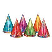 12 Units of Prismatic Cone Hats asstd colors; medium head size; elastic attached