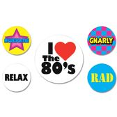 12 Units of 80's Party Buttons asstd designs