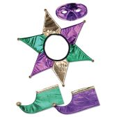 6 Units of Mardi Gras Jester Set 2–shoe toppers, jester collar, mask