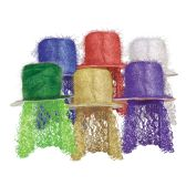 6 Units of Tinsel Top Hat w/Curly Wig asstd colors; one size fits most - Party Hats & Tiara