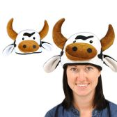 12 Units of Plush Cow Head-Hat one size fits most - Party Hats & Tiara