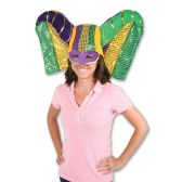 6 Units of Masked Mardi Gras Hat w/Sequined Drape one size fits most - Party Hats & Tiara
