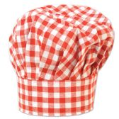 12 Units of Gingham Fabric Chef's Hat red; one size fits most; velcro closure - Party Hats & Tiara